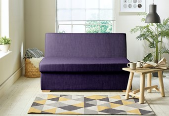 Detroit Fabric Sofabed - 2 Seater Purple