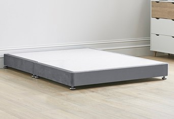 Low Divan Contract Bed Base On Chrome Glides - 6'0'' x 6'6'' Super King Grey