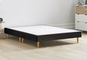 Divan Contract Bed Base On Wooden Legs - 4'6'' x 6'3'' Double Charcoal